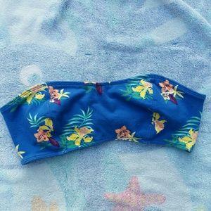 Pacsun bralette bandeau tropical floral blue